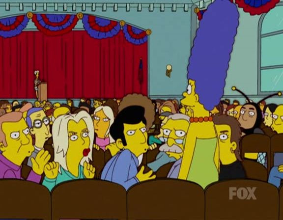 The Simpsons — s15e08 — Marge vs. Singles, Seniors, Childless Couples and Teens, and Gays