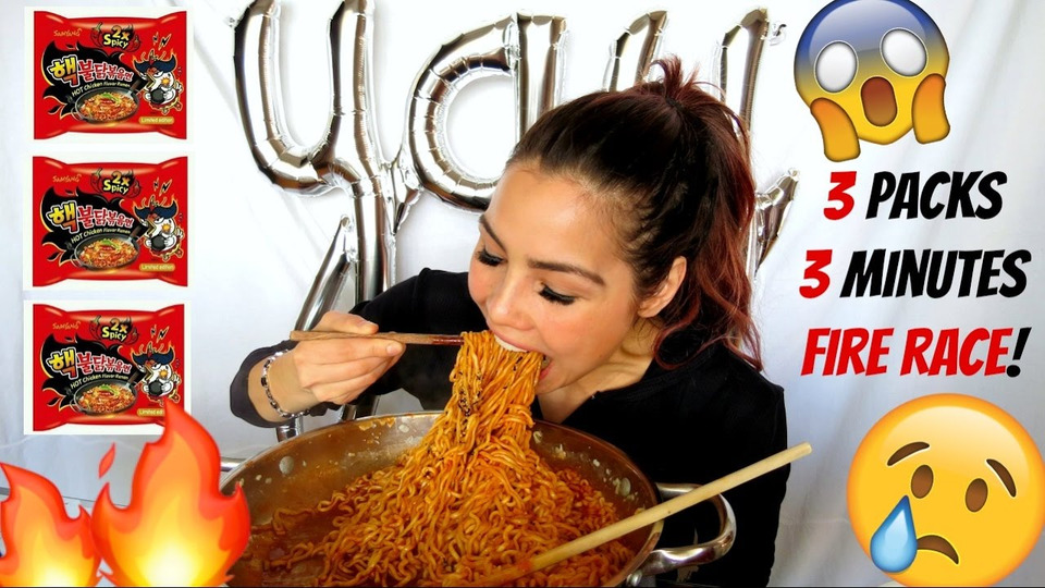 s04e27 — EXTREME SPICY NOODLE CHALLENGE / RACE MUKBANG 먹방 | 13K GIVEAWAY